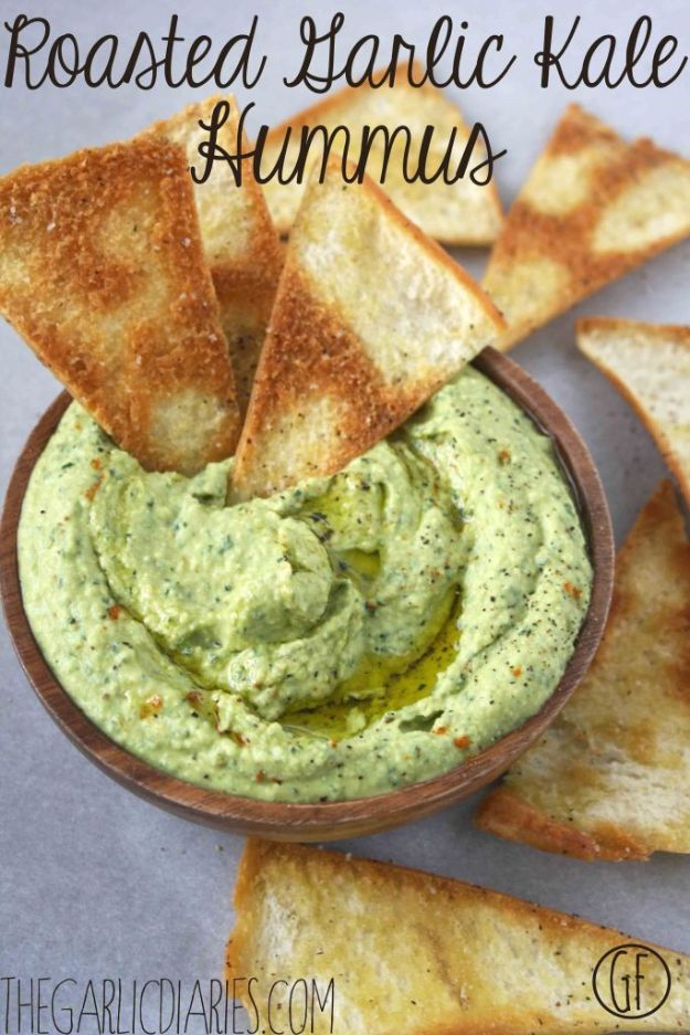 Best Kale Recipes - Roasted Garlic Kale Hummus - How to Cook Kale at Home - Healthy Green Vegetable Cooking for Salads, Soup, Lunches, Stir Fry and Dinner - Kale Chips. Salad, Shredded, Cooked, Fresh and Sauteed Kale - Vegan, Vegetarian, Keto, Low Carb and Lowfat Recipe Ideas #kale #kalerecipes #vegetablerecipes #veggies #recipeideas #dinnerideas http://diyjoy.com/best-kale-recipes
