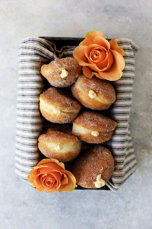 Best Recipes for the Cheese Lover - Salted Caramel Cream Cheese Filled Cinnamon And Sugar Donuts - Easy Recipe Ideas With Cheese - Homemade Appetizers, Dips, Dinners, Snacks, Pasta Dishes, Healthy Lunches and Soups Made With Your Favorite Cheeses - Ricotta, Cheddar, Swiss, Parmesan, Goat Chevre, Mozzarella and Feta Ideas - Grilled, Healthy, Vegan and Vegetarian #cheeserecipes #recipes #recipeideas #cheese #cheeserecipe
