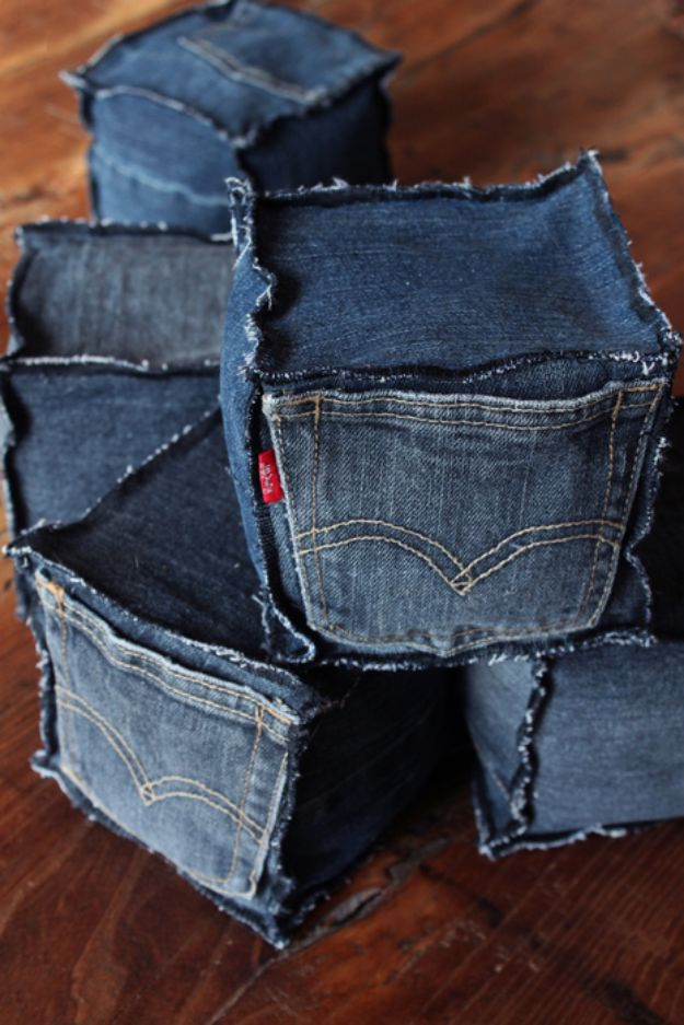 Blue Jean Upcycles - Scented Lavender Denim Cubes - Ways to Make Old Denim Jeans Into DIY Home Decor, Handmade Gifts and Creative Fashion - Transform Old Blue Jeans into Pillows, Rugs, Kitchen and Living Room Decor, Easy Sewing Projects for Beginners #sewing #diy #crafts #upcycle