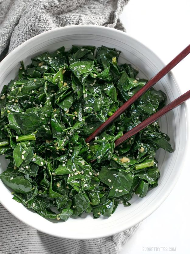 Best Kale Recipes - Sesame Kale - How to Cook Kale at Home - Healthy Green Vegetable Cooking for Salads, Soup, Lunches, Stir Fry and Dinner - Kale Chips. Salad, Shredded, Cooked, Fresh and Sauteed Kale - Vegan, Vegetarian, Keto, Low Carb and Lowfat Recipe Ideas #kale #kalerecipes #vegetablerecipes #veggies #recipeideas #dinnerideas http://diyjoy.com/best-kale-recipes