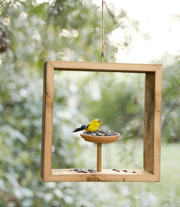 DIY Bird Feeders - Shadow Box Bird Feeder - Easy Do It Yourself Homemade Bird Feeder Ideas from Mason Jar, Wooden, Wine Bottle, Milk Jug, Plastic, Dollar Store Supplies - Squirrel Proof, Unique and Creative Tutorials That Make Cool DIY Gifts #diyideas #birds