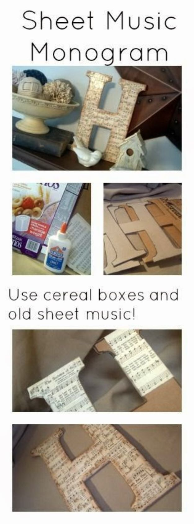 Cool DIY Ideas With Cereal Boxes - Sheet Music Monogram - Easy Organizing Ideas, Cute Kids Crafts and Creative Ways to Make Things Out of A Cereal Box - Cheap Gifts, DIY School Supplies and Storage Ideas http://diyjoy.com/diy-ideas-cereal-boxes
