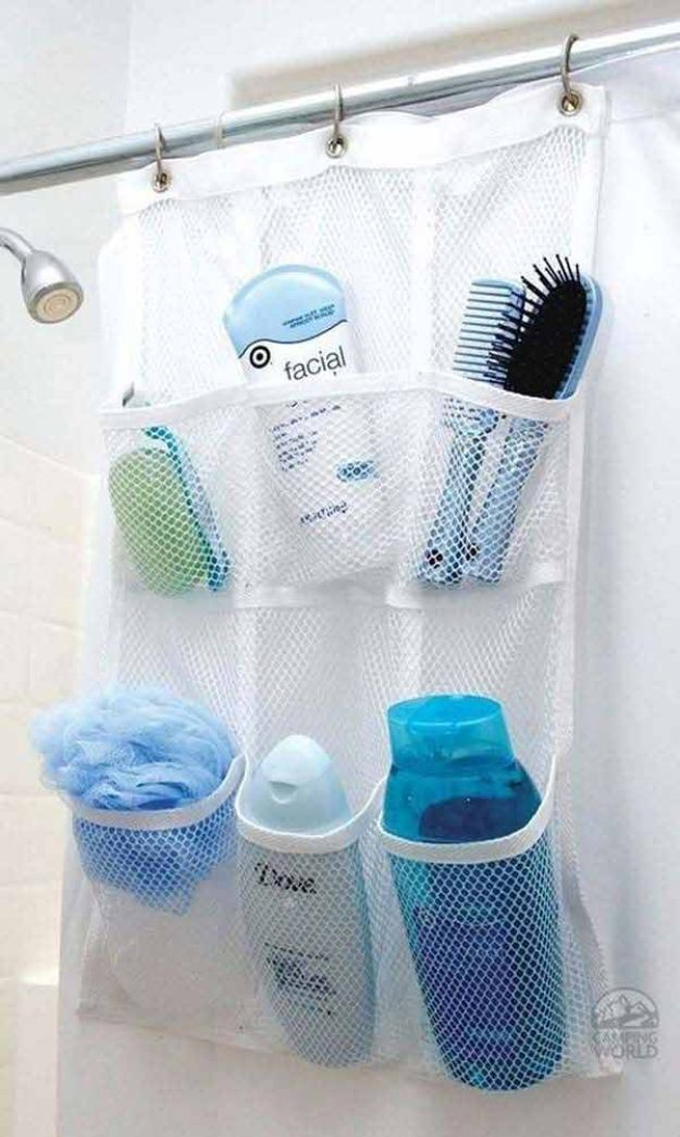 Dollar Store Organizing Ideas - Shower Pocket Organizer - Easy Organization Projects from Dollar Tree and Dollar Stores - Quick Closet Makeovers, Pantry Storage, Shoe Box Projects, Tension Rods, Car and Household Cleaning - Hacks and Tips for Organizing on a Budget - Cheap Idea for Reducing Clutter around the House, in the Kitchen and Bedroom http://diyjoy.com/dollar-store-organizing-ideas