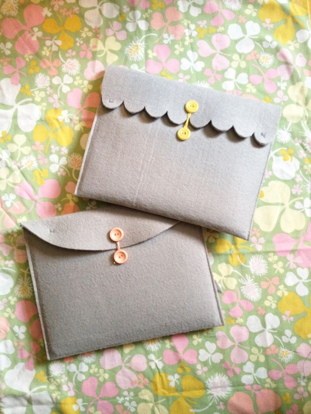 DIY Sewing Projects for the Home - Simple Felt Ipad Cover - Easy DIY Christmas Gifts and Ideas for Making Kitchen, Bedroom and Bathroom Decor - Free Step by Step Tutorial to Sew