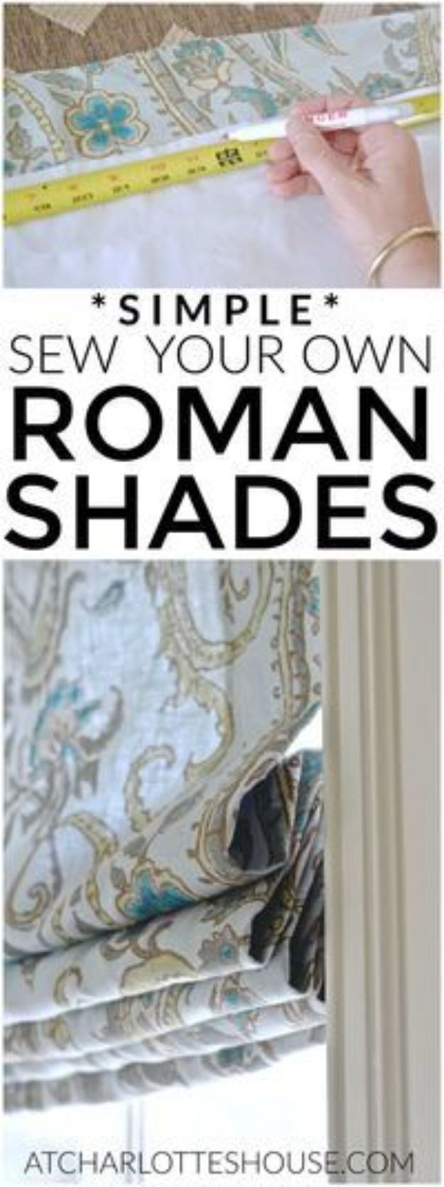 DIY Sewing Projects for the Home - Simple Roman Shades - Easy DIY Christmas Gifts and Ideas for Making Kitchen, Bedroom and Bathroom Decor - Free Step by Step Tutorial to Sew