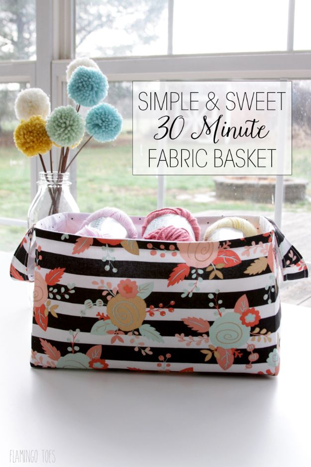 DIY Sewing Projects for the Home - Simple and Sweet 30 Minute Fabric Basket - Easy DIY Christmas Gifts and Ideas for Making Kitchen, Bedroom and Bathroom Decor - Free Step by Step Tutorial to Sew