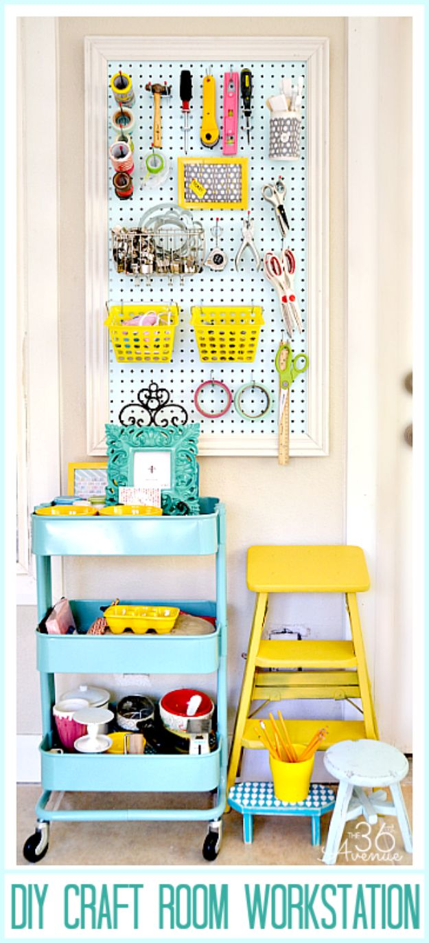 Craft Room Organization Ideas - Small Craft Room Workstation - DIY Dollar Store Projects for Crafts - Budget Ways to Declutter While Organizing Supplies - Shelves, IKEA Hacks, Small Space Ideas