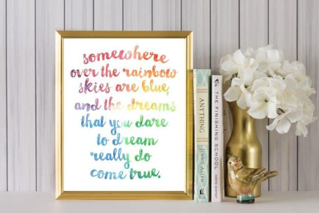 Free Printables For Your Walls - Somewhere Over The Rainbow Free Printable - Easy Canvas Ideas With Free Downloadable Artwork and Quote Sayings - Best Free Prints for Wall Art and Picture to Print for Home and Bedroom Decor - Signs for the Home, Organization, Office - Quotes for Bedroom and Kitchens, Vintage Bathroom Pictures - Downloadable Printable for Kids - DIY and Crafts by DIY JOY #wallart #freeprintables #diyideas #diyart #walldecor #diyhomedecor http://diyjoy.com/best-free-printables-wall-art