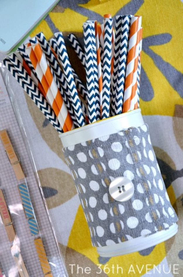 Cheap Craft Room Organization Ideas - Soup Can Pen Holder - DIY Dollar Store Projects for Crafts - Budget Ways to Declutter While Organizing Supplies - Shelves, IKEA Hacks, Small Space Ideas