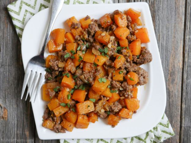 Best Recipes With Ground Beef - Spicy Ground Beef and Butternut Squash - Easy Dinners and Ground Beef Recipe Ideas - Quick Lunch Salads, Casseroles, Tacos, One Skillet Meals - Healthy Crockpot Foods With Hamburger Meat - Mexican Casserole, Instant Pot Carne Molida, Low Carb and Keto Diet - Rice, Pasta, Potatoes and Crescent Rolls #groundbeef #beefrecipes #beedrecipe #dinnerideas #dinnerrecipes http://diyjoy.com/best-recipes-ground-beef