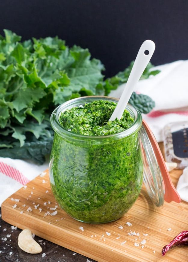 Best Kale Recipes - Spicy Kale Pesto - How to Cook Kale at Home - Healthy Green Vegetable Cooking for Salads, Soup, Lunches, Stir Fry and Dinner - Kale Chips. Salad, Shredded, Cooked, Fresh and Sauteed Kale - Vegan, Vegetarian, Keto, Low Carb and Lowfat Recipe Ideas #kale #kalerecipes #vegetablerecipes #veggies #recipeideas #dinnerideas http://diyjoy.com/best-kale-recipes