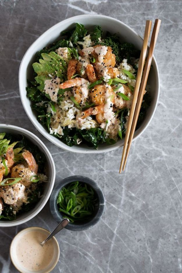 Best Kale Recipes - Spicy Shrimp Bowl With Crispy Rice & Kale - Healthy Green Vegetable Cooking for Salads, Soup, Lunches, Stir Fry and Dinner - Kale Chips. Salad, Shredded, Cooked, Fresh and Sauteed Kale - Vegan, Vegetarian, Keto, Low Carb and Lowfat Recipe Ideas #kale #kalerecipes #vegetablerecipes #veggies #recipeideas #dinnerideas http://diyjoy.com/best-kale-recipes