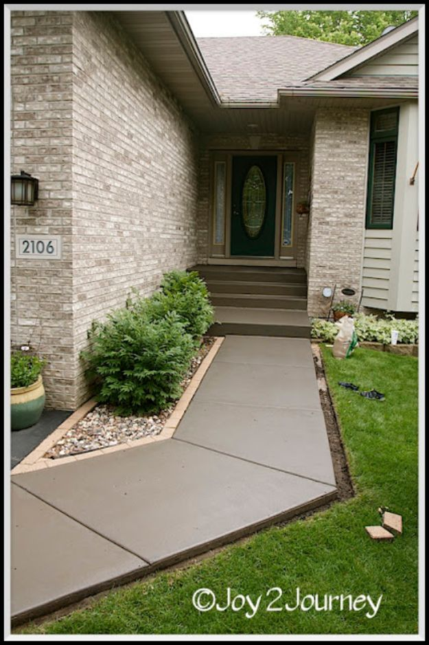 DIY Walkways - Stain A Cement Walkway - Do It Yourself Walkway Ideas for Paths to The Front Door and Backyard - Cheap and Easy Pavers and Concrete Path and Stepping Stones - Wood and Edging, Lights, Backyard and Patio Walks With Gravel, Sand, Dirt and Brick http://diyjoy.com/diy-walkways