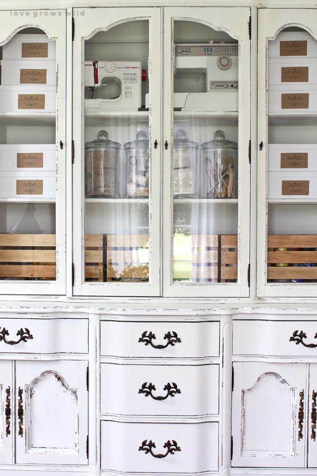 Craft Room Organization Ideas - Storage Hutch Makeover - DIY Dollar Store Projects for Crafts - Budget Ways to Declutter While Organizing Supplies - Shelves, IKEA Hacks, Small Space Ideas