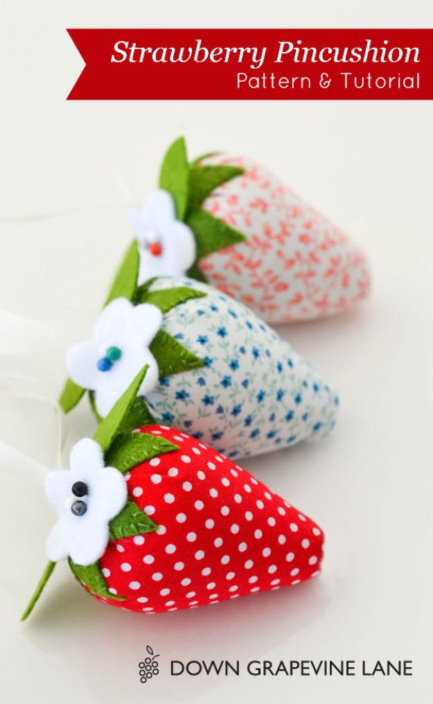 DIY Sewing Projects for the Home - Strawberry Pincushion - Easy DIY Christmas Gifts and Ideas for Making Kitchen, Bedroom and Bathroom Decor - Free Step by Step Tutorial to Sew