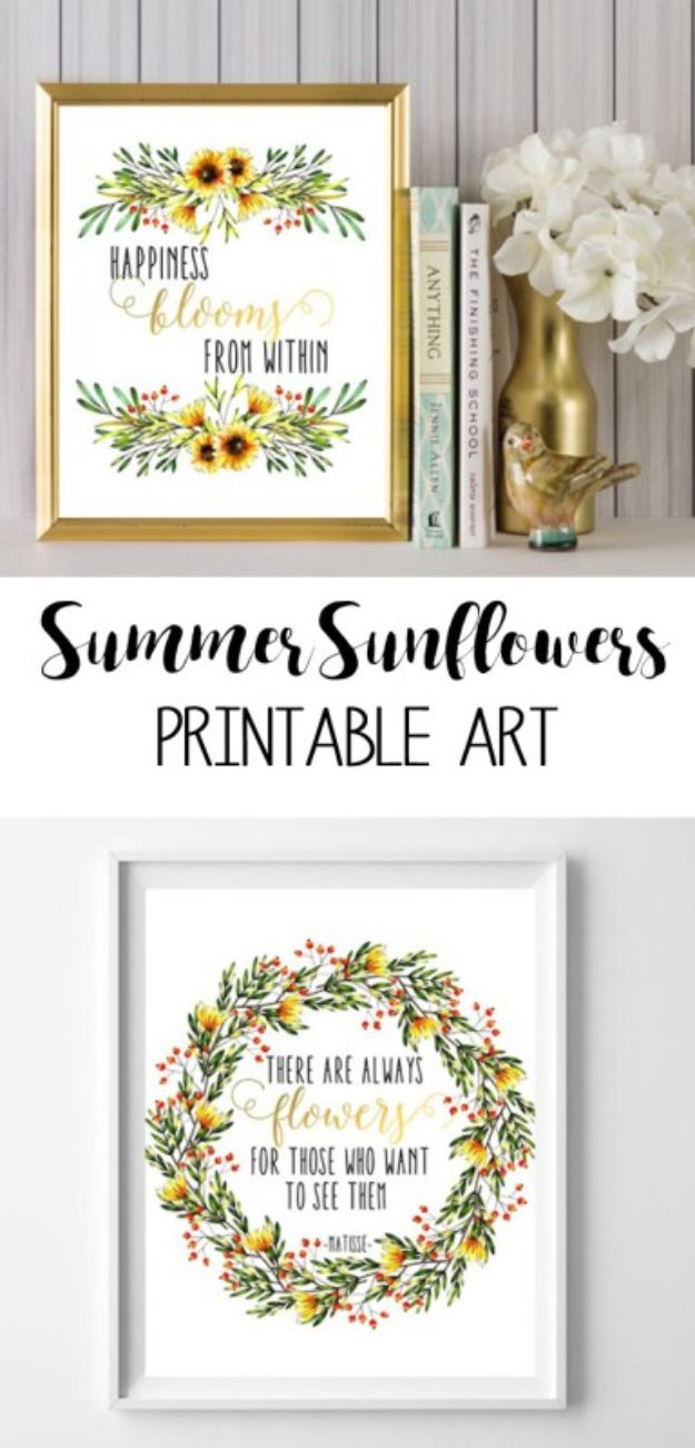 Free Printables For Your Walls - Sunflower Printable Art - Easy Canvas Ideas With Free Downloadable Artwork and Quote Sayings - Best Free Prints for Wall Art and Picture to Print for Home and Bedroom Decor - Signs for the Home, Organization, Office - Quotes for Bedroom and Kitchens, Vintage Bathroom Pictures - Downloadable Printable for Kids - DIY and Crafts by DIY JOY #wallart #freeprintables #diyideas #diyart #walldecor #diyhomedecor #freeprintables