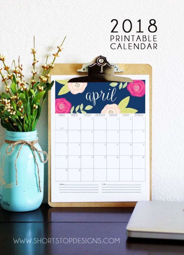 DIY Calendars - Super Cute Printable Calendar - Homemade Calender Ideas That Make Great Cheap Gifts for Christmas - Desk, Wall and Glass Dry Erase Organizing Calendar Projects With Step by Step Tutorials - Paint, Stamp, Magnetic, Family Planner and Organizer #diycalendar #diyideas #crafts #calendars #organizing #diygifts #calendars #diyideas