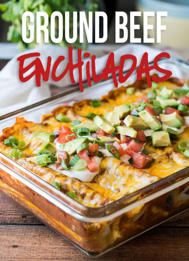 Best Recipes With Ground Beef - Super Easy Ground Beef Enchiladas - Easy Dinners and Ground Beef Recipe Ideas - Quick Lunch Salads, Casseroles, Tacos, One Skillet Meals - Healthy Crockpot Foods With Hamburger Meat - Mexican Casserole, Instant Pot Carne Molida, Low Carb and Keto Diet - Rice, Pasta, Potatoes and Crescent Rolls