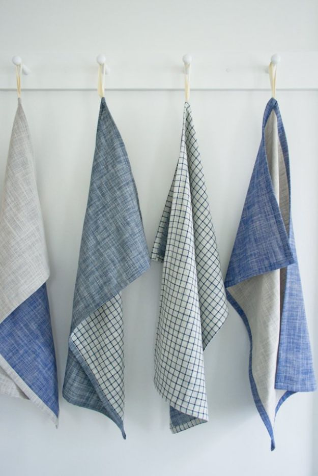 DIY Sewing Projects for the Home - Super Simple Dishtowels - Easy DIY Christmas Gifts and Ideas for Making Kitchen, Bedroom and Bathroom Decor - Free Step by Step Tutorial to Sew