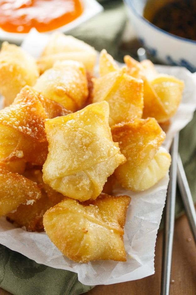 Best Recipes for the Cheese Lover - Sweet Cream Cheese Wontons - Easy Recipe Ideas With Cheese - Homemade Appetizers, Dips, Dinners, Snacks, Pasta Dishes, Healthy Lunches and Soups Made With Your Favorite Cheeses - Ricotta, Cheddar, Swiss, Parmesan, Goat Chevre, Mozzarella and Feta Ideas - Grilled, Healthy, Vegan and Vegetarian #cheeserecipes #recipes #recipeideas #cheese #cheeserecipe
