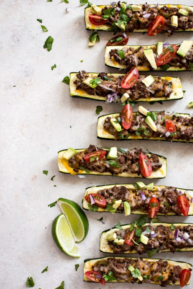 Gluten Free Ground Beef Recipes - Taco Zucchini Boats - Easy Dinners and Ground Beef Recipe Ideas - Quick Lunch Salads, Casseroles, Tacos, One Skillet Meals - Healthy Crockpot Foods With Hamburger Meat - Mexican Casserole, Instant Pot Dinners, Low Carb and Keto Diet - Rice, Pasta, Potatoes and Crescent Rolls