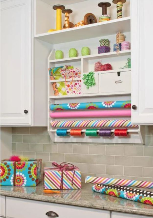 Craft Room Organization Ideas - Tension Rod Wrapping Paper Holder - DIY Dollar Store Projects for Crafts - Budget Ways to Declutter While Organizing Supplies - Shelves, IKEA Hacks, Small Space Ideas