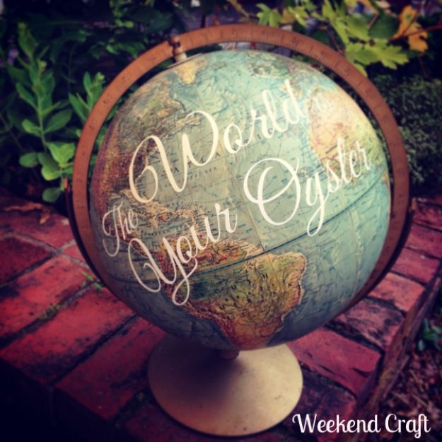 DIY Ideas With Maps - The World is Your Oyster Globe - Easy Crafts, Home Decor, Art and Gifts Your Can Make With A Map - Pinboard, Canvas, Painting, Paper Flowers, Signs Projects