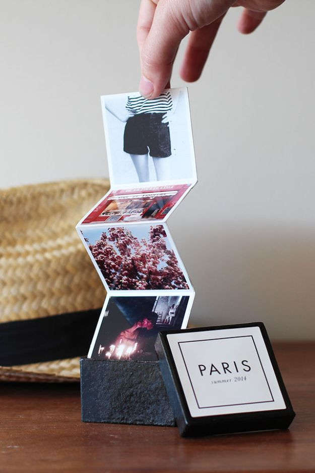 DIY Photo Albums - Tiny Travel Album In A Box - Easy DIY Christmas Gifts for Grandparents, Friends, Him or Her, Mom and Dad - Creative Ideas for Making Wall Art and Home Decor With Photos
