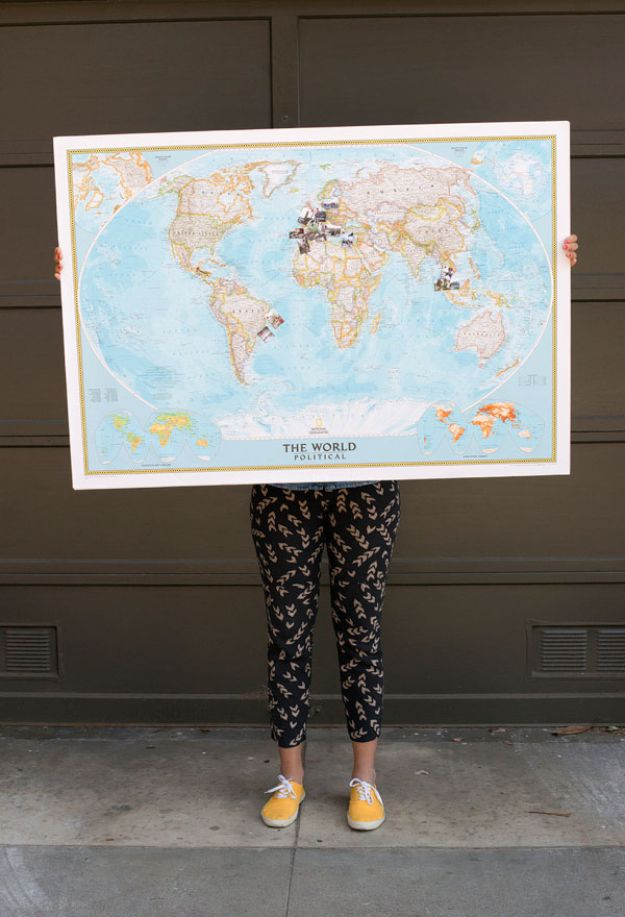 DIY Ideas With Maps - Travel Memory Map - Easy Crafts, Home Decor, Art and Gifts Your Can Make With A Map - Pinboard, Canvas, Painting, Paper Flowers, Signs Projects