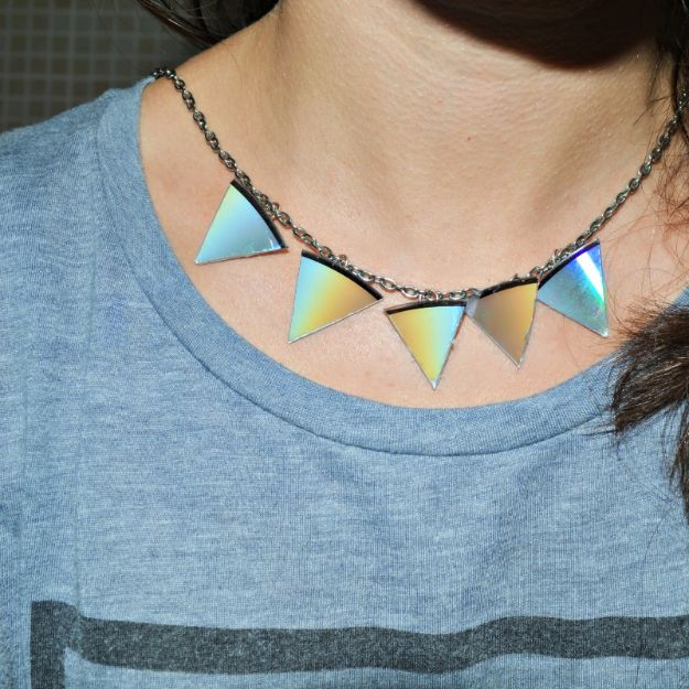 DIY Ideas With Old CD - Triangle Statement Necklace - Recycle Jewelry, Room Decoration Mosaic, Coasters, Garden Art and DIY Home Decor Using Broken DVD - Photo Album, Wall Art and Mirror - Cute and Easy DIY Gifts for Birthday and Christmas Holidays
