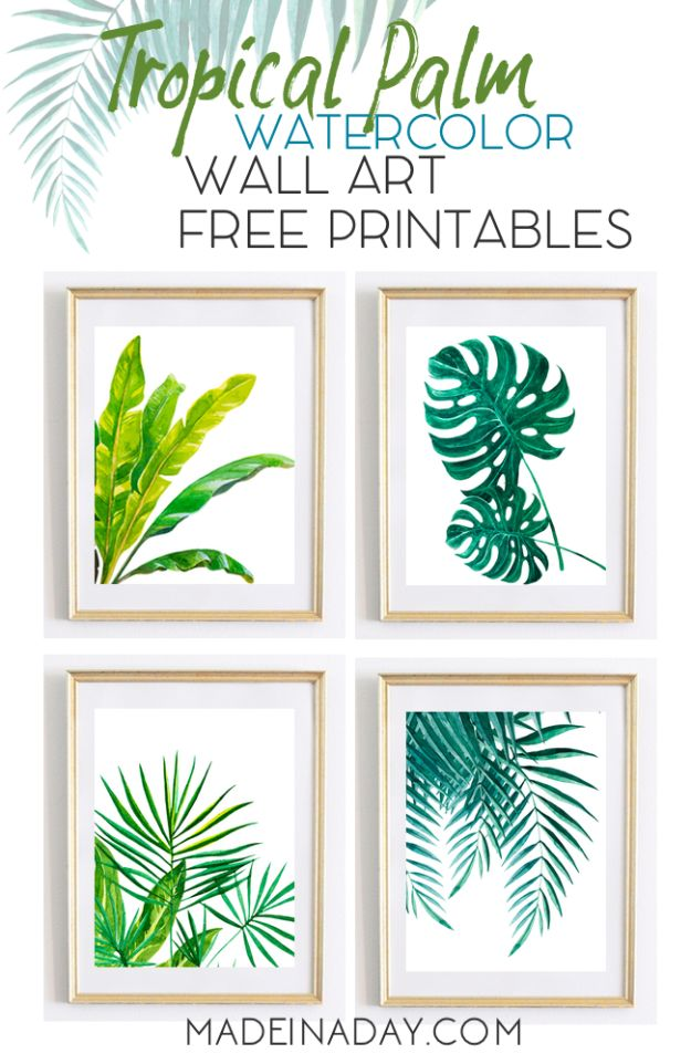 Free Printables For Your Walls - Tropical Palm Watercolor Wall Art Printables - Easy Canvas Ideas With Free Downloadable Artwork and Quote Sayings - Best Free Prints for Wall Art and Picture to Print for Home and Bedroom Decor - Signs for the Home, Organization, Office - Quotes for Bedroom and Kitchens, Vintage Bathroom Pictures - Downloadable Printable for Kids - DIY and Crafts by DIY JOY #wallart #freeprintables #diyideas #diyart #walldecor #diyhomedecor http://diyjoy.com/best-free-printables-wall-art
