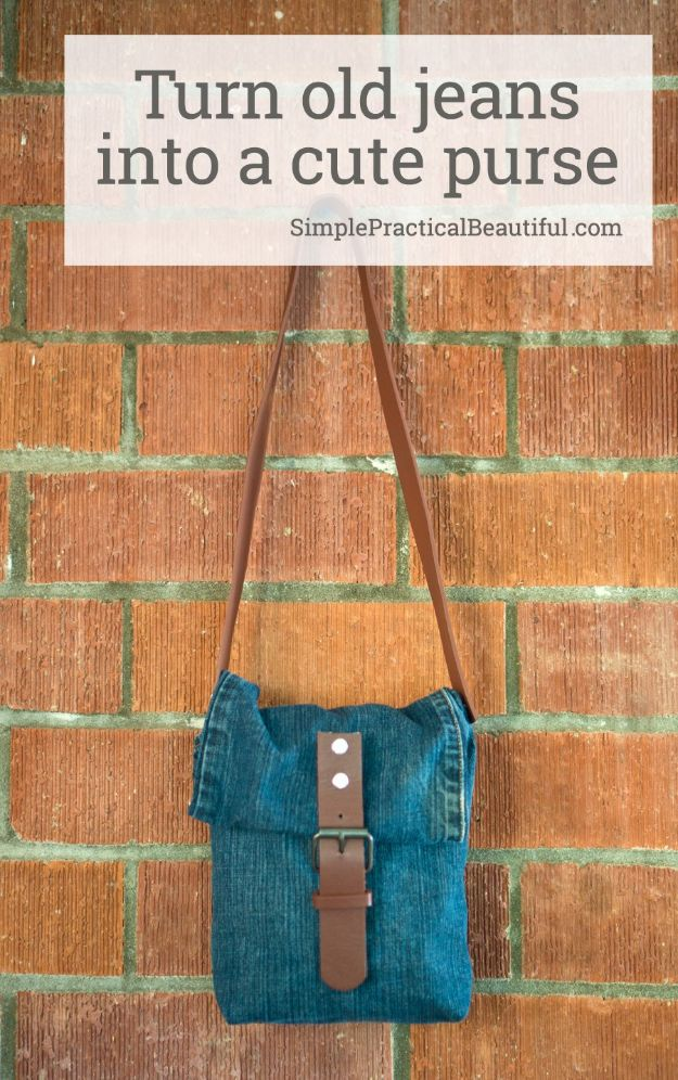 Blue Jean Upcycles - Turn Old Jeans Into A Cute Purse - Ways to Make Old Denim Jeans Into DIY Home Decor, Handmade Gifts and Creative Fashion - Transform Old Blue Jeans into Pillows, Rugs, Kitchen and Living Room Decor, Easy Sewing Projects for Beginners http://diyjoy.com/diy-blue-jeans-upcyle-ideas