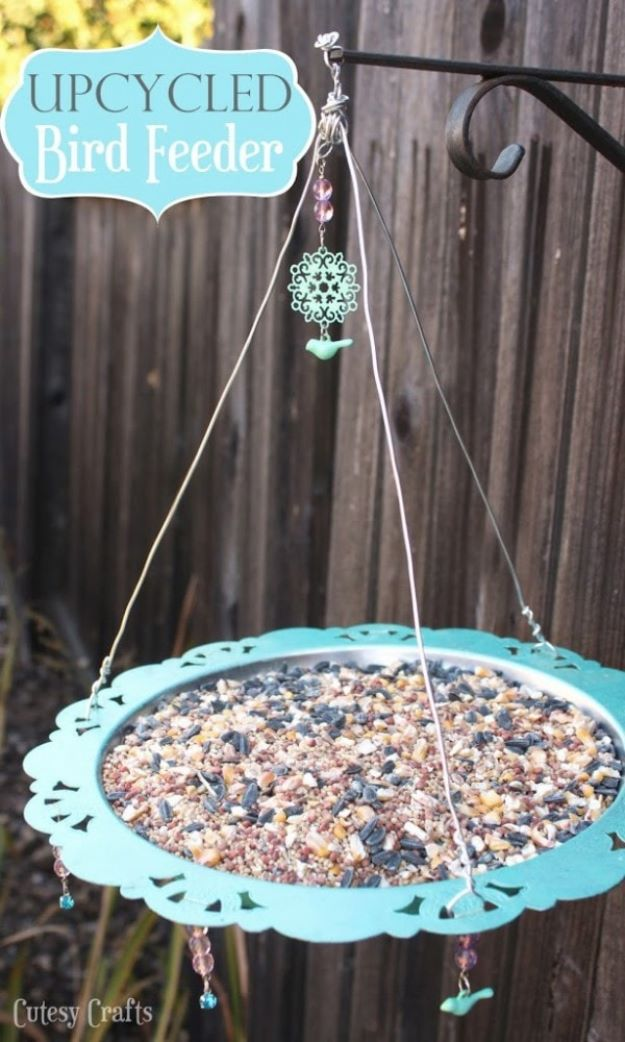 DIY Bird Feeders - Upcycled Bird Feeder - Easy Do It Yourself Homemade Bird Feeder Ideas from Mason Jar, Wooden, Wine Bottle, Milk Jug, Plastic, Dollar Store Supplies - Squirrel Proof, Unique and Creative Tutorials That Make Cool DIY Gifts #diyideas #birds