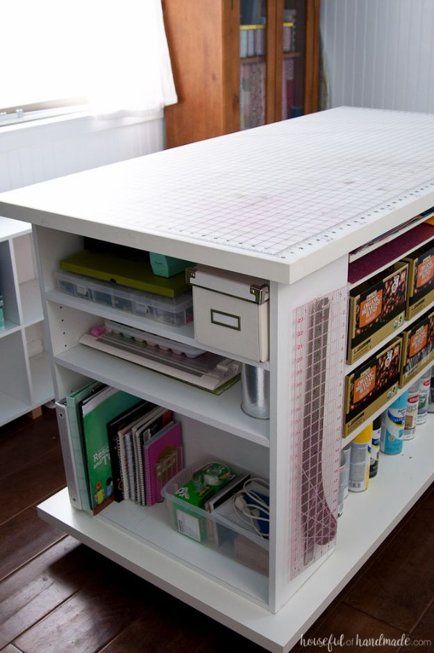 DIY Craft Room Ideas and Craft Room Organization Projects - Upcycled Bookcase Rolling Work Table - Cool Ideas for Do It Yourself Craft Storage, Craft Room Decor and Organizing Project Ideas - fabric, paper, pens, creative tools, crafts supplies, shelves and sewing notions