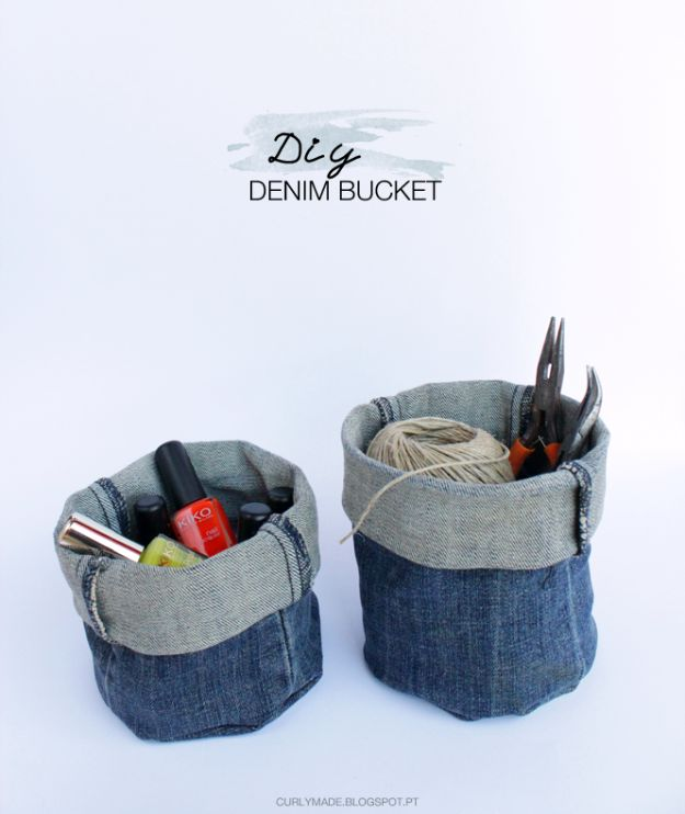 Blue Jean Upcycles - Upcycled Denim Bucket DIY - Ways to Make Old Denim Jeans Into DIY Home Decor, Handmade Gifts and Creative Fashion - Transform Old Blue Jeans into Pillows, Rugs, Kitchen and Living Room Decor, Easy Sewing Projects for Beginners http://diyjoy.com/diy-blue-jeans-upcyle-ideas