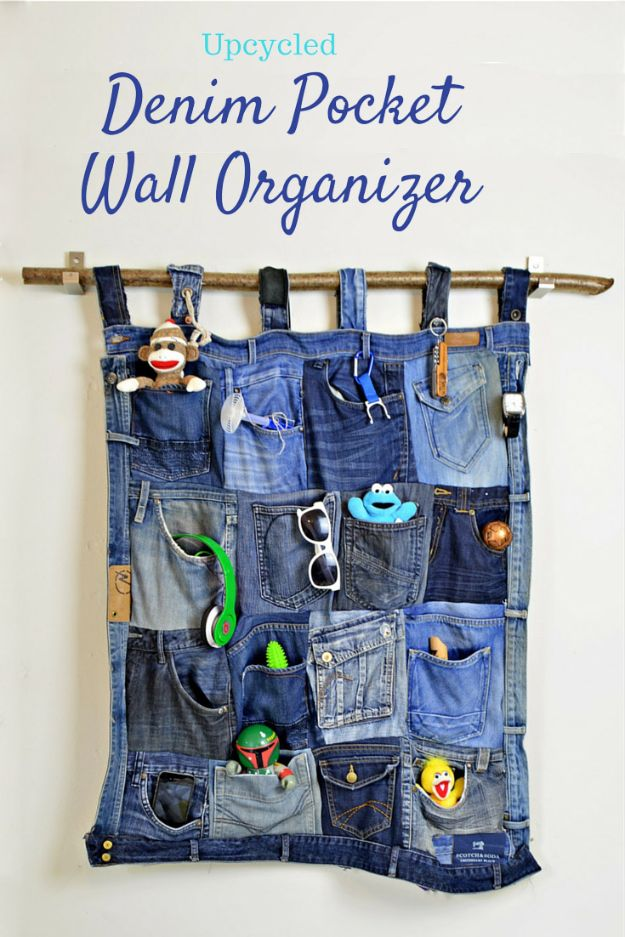 Blue Jean Upcycles - Upcycled Denim Pocket Wall Organizer - Ways to Make Old Denim Jeans Into DIY Home Decor, Handmade Gifts and Creative Fashion - Transform Old Blue Jeans into Pillows, Rugs, Kitchen and Living Room Decor, Easy Sewing Projects for Beginners #sewing #diy #crafts #upcycle