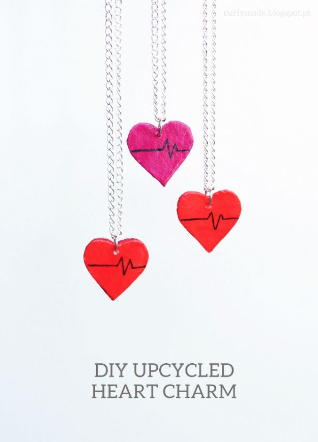 Cool DIY Ideas With Cereal Boxes - Upcycled Heart Charms - Easy Organizing Ideas, Cute Kids Crafts and Creative Ways to Make Things Out of A Cereal Box - Cheap Gifts, DIY School Supplies and Storage Ideas http://diyjoy.com/diy-ideas-cereal-boxes