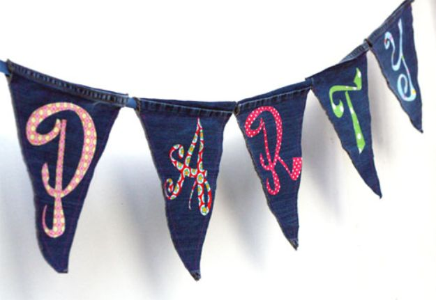 Blue Jean Upcycles - Upcycled Jeans Bunting - Ways to Make Old Denim Jeans Into DIY Home Decor, Handmade Gifts and Creative Fashion - Transform Old Blue Jeans into Pillows, Rugs, Kitchen and Living Room Decor, Easy Sewing Projects for Beginners http://diyjoy.com/diy-blue-jeans-upcyle-ideas