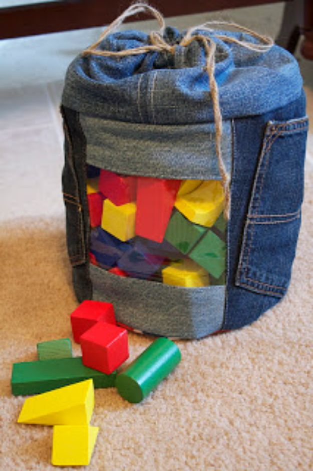 Blue Jean Upcycles - Upcycled Jeans To Toy Storage - Ways to Make Old Denim Jeans Into DIY Home Decor, Handmade Gifts and Creative Fashion - Transform Old Blue Jeans into Pillows, Rugs, Kitchen and Living Room Decor, Easy Sewing Projects for Beginners http://diyjoy.com/diy-blue-jeans-upcyle-ideas