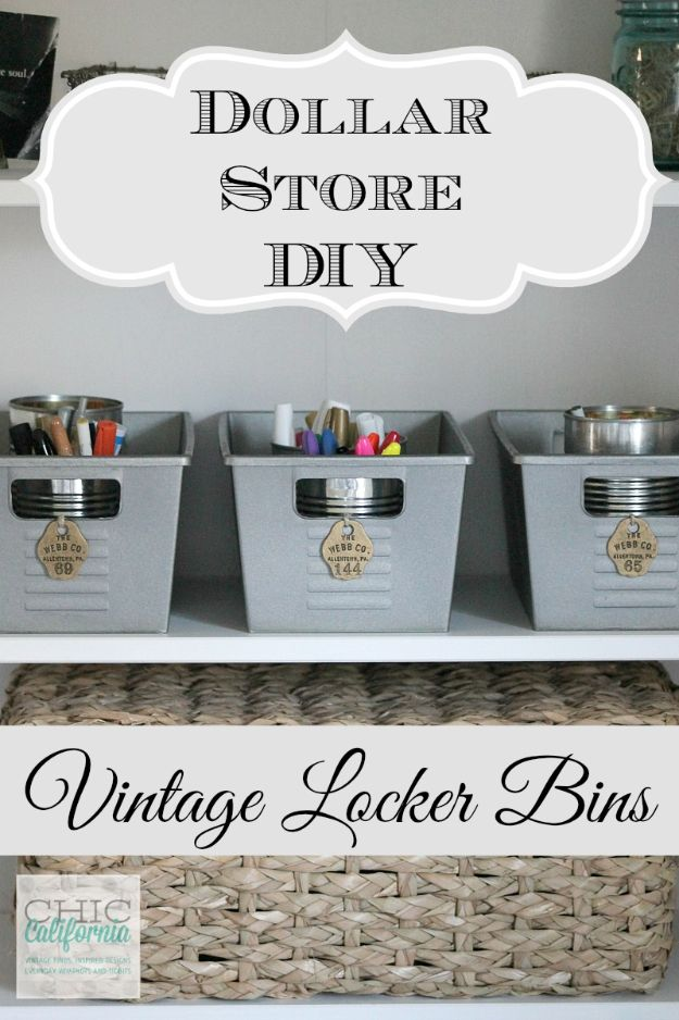 Dollar Store Organizing Ideas - Vintage Locker Bins - Easy Organization Projects from Dollar Tree and Dollar Stores - Quick Closet Makeovers, Pantry Storage, Shoe Box Projects, Tension Rods, Car and Household Cleaning - Hacks and Tips for Organizing on a Budget - Cheap Idea for Reducing Clutter around the House, in the Kitchen and Bedroom http://diyjoy.com/dollar-store-organizing-ideas