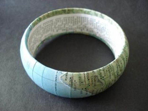 DIY Ideas With Maps - Vintage Map Bangle - Easy Crafts, Home Decor, Art and Gifts Your Can Make With A Map - Pinboard, Canvas, Painting, Paper Flowers, Signs Projects