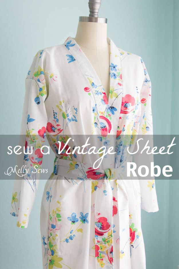 DIY Sewing Projects for the Home - Vintage Sheet Robe - Easy DIY Christmas Gifts and Ideas for Making Kitchen, Bedroom and Bathroom Decor - Free Step by Step Tutorial to Sew