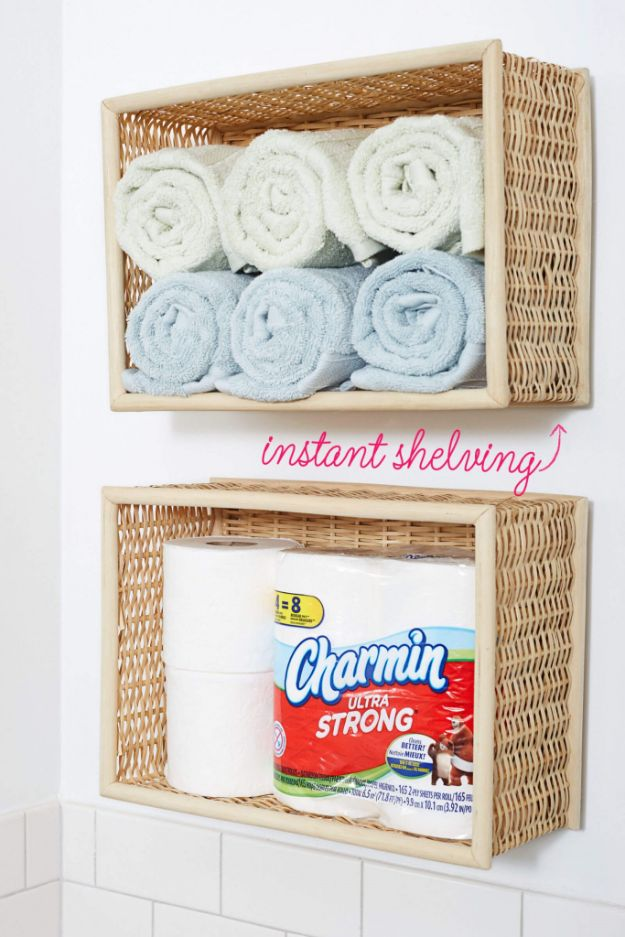 Dollar Store Organizing Ideas - Wall-Mounted Bathroom Basket Shelves - Easy Organization Projects from Dollar Tree and Dollar Stores - Quick Closet Makeovers, Pantry Storage, Shoe Box Projects, Tension Rods, Car and Household Cleaning - Hacks and Tips for Organizing on a Budget - Cheap Idea for Reducing Clutter around the House, in the Kitchen and Bedroom http://diyjoy.com/dollar-store-organizing-ideas