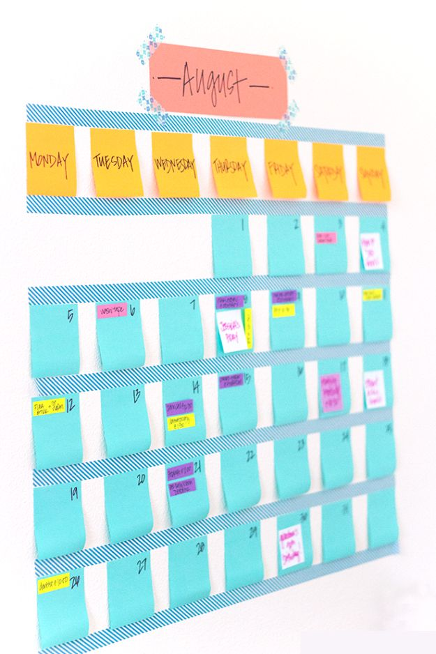 DIY Calendars - Washi Tape Calendar - Homemade Calender Ideas That Make Great Cheap Gifts for Christmas - Desk, Wall and Glass Dry Erase Organizing Calendar Projects With Step by Step Tutorials - Paint, Stamp, Magnetic, Family Planner and Organizer #diycalendar #diyideas #crafts #calendars #organizing #diygifts #calendars #diyideas