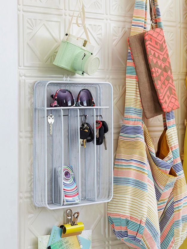 Dollar Store Organizing Ideas - Wire Mesh Utensil Holder - Easy Organization Projects from Dollar Tree and Dollar Stores - Quick Closet Makeovers, Pantry Storage, Shoe Box Projects, Tension Rods, Car and Household Cleaning - Hacks and Tips for Organizing on a Budget - Cheap Idea for Reducing Clutter around the House, in the Kitchen and Bedroom http://diyjoy.com/dollar-store-organizing-ideas