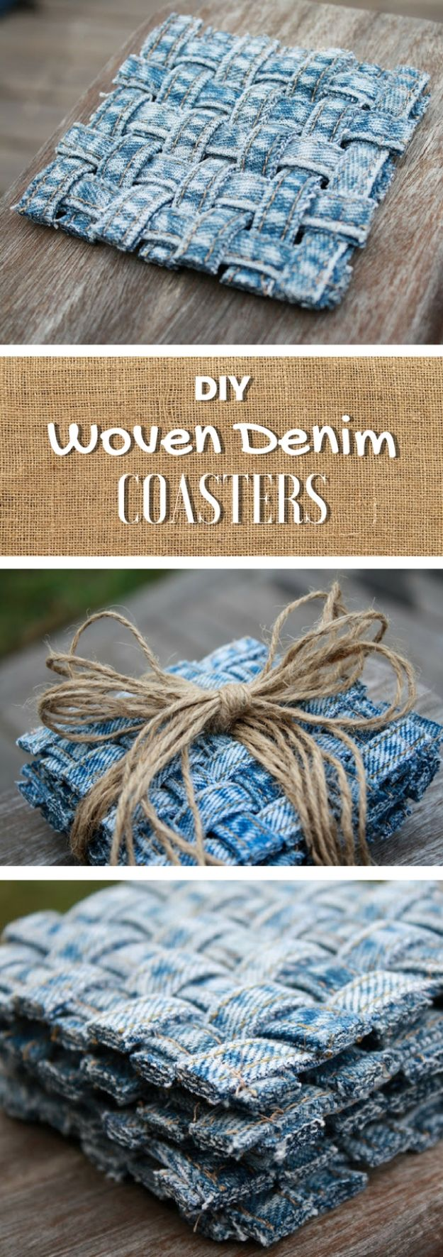 Blue Jean Upcycles - Woven Jean Seam Coasters - Ways to Make Old Denim Jeans Into DIY Home Decor, Handmade Gifts and Creative Fashion - Transform Old Blue Jeans into Pillows, Rugs, Kitchen and Living Room Decor, Easy Sewing Projects for Beginners #sewing #diy #crafts #upcycle