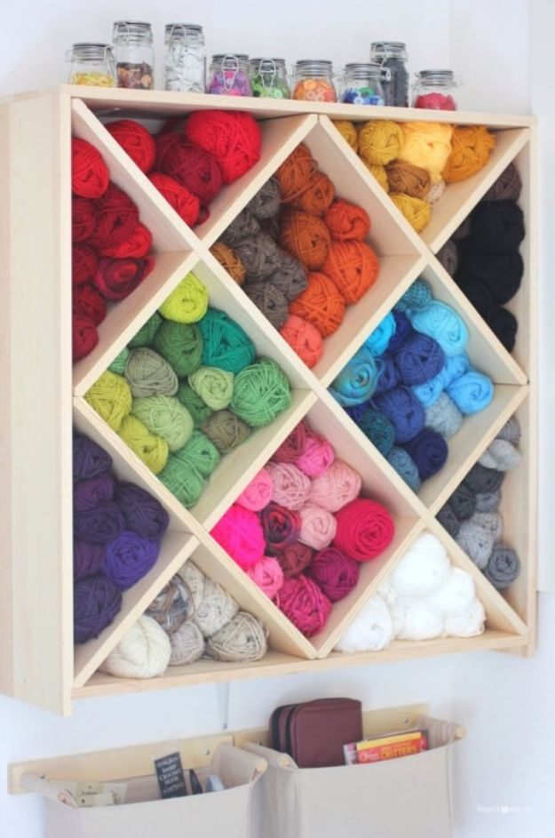 Craft Room Organization Ideas - Yarn Storage System - DIY Dollar Store Projects for Crafts - Budget Ways to Declutter While Organizing Supplies - Shelves, IKEA Hacks, Small Space Ideas