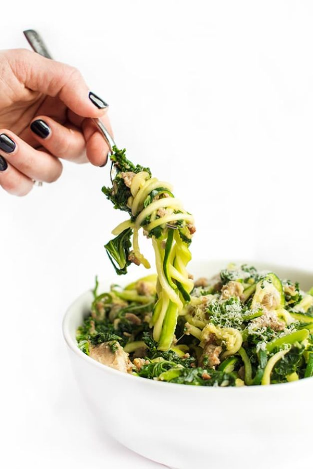 Best Kale Recipes - Zucchini Zoodles With Sausage And Kale - How to Cook Kale at Home - Healthy Green Vegetable Cooking for Salads, Soup, Lunches, Stir Fry and Dinner - Kale Chips. Salad, Shredded, Cooked, Fresh and Sauteed Kale - Vegan, Vegetarian, Keto, Low Carb and Lowfat Recipe Ideas #kale #kalerecipes #vegetablerecipes #veggies #recipeideas #dinnerideas http://diyjoy.com/best-kale-recipes