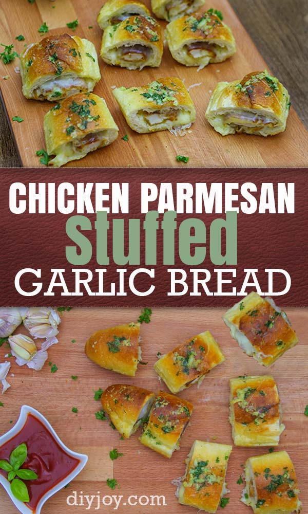 Chicken Parmesan Stuffed Garlic Bread Recipe - Ingredients for Making Cheese Stuffed Chicken Parmesan Bread - Easy Snack Ideas and Best Party Food Recipes - Quick Dinner Ideas for Italian Cooking - Best Appetizers and Recipe Ideas for Cocktail Parties, Super Bowl, Happy Hour, Dinner Party #recipes #italianfood #recipeideas #chickenrecipes