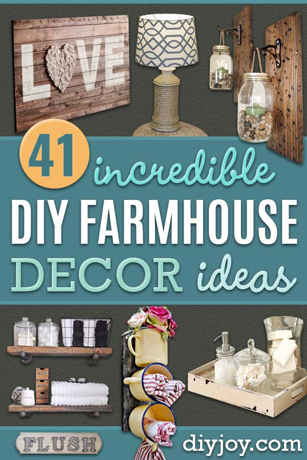 DIY Farmhouse Style Decor Ideas - Rustic Ideas for Furniture, Paint Colors, Farm House Decoration for Living Room, Kitchen and Bedroom #diy #farmhousedecor #rusticdecor http://diyjoy.com/diy-farmhouse-decor-ideas